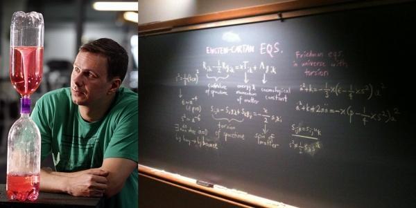 Г-н Поплавски демонстрирует предполагаемое им устройство Вселенной: верхняя бутылка символизирует родительскую ЧД, трубка — кротовую нору, нижняя бутылка — расширяющуюся Вселенную, в которой мы сейчас находимся. (Фото Indiana University.)